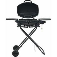 Zqyrlar - Portable Gas BBQ Grill with Cooking Zone Black - Black