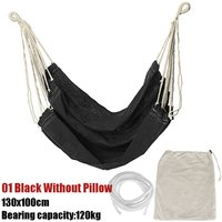 Portable Hanging Hammock Chair Swing Thicken Porch Seat Black Without Pillow