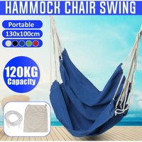 Portable Hanging Hammock Chair Swing Thicken Porch Seat Garden Outdoor Camping Patio Travel (Blue, 01 Blue No Pillow)