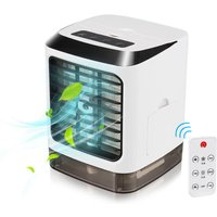 Asupermall - Portable mini air conditioner fan, portable mini desktop air conditioner humidifier, home and office, USB Fan, with colorful LED