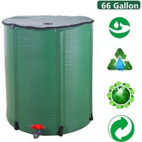 Portable Water Butt Set, Folding Rain Barrel Water Collector Collapsible Tank Spigot Water Storage Container for Garden (66 Gallon)