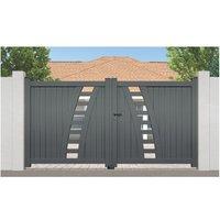 Portail Aluminium Rayol - Coulissant 2 Vantaux (assemblés) - Couleur - Gris RAL 7016 satiné, Longueur - 3,5m