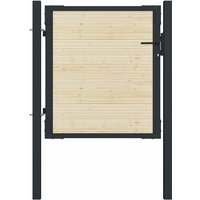 Portail de clôture en acier et bois d'épicéa 107x150 cm