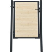Youthup - Portail de Clôture en acier et bois d'épicéa 107x175 cm