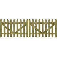 Youthup - Portail de clôture à piquets 2 pcs Bois imprégné 300x100 cm