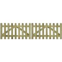 Youthup - Portail de clôture à piquets 2 pcs Bois imprégné 300x80 cm