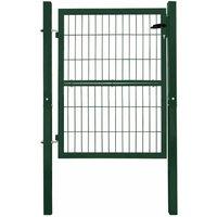 V2aox - Porte Portail Jardin Cadenas Serrures Clés Galvanisé Acier 120 cm Vert