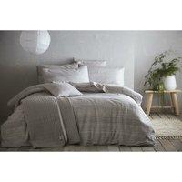 Bedmaker - Portfolio Admiral Silver/Grey Striped Super King Size Duvet Cover Set Bedding Bed Set Quilt