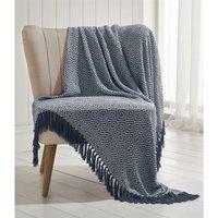 Ascot Chevron Navy 100% Cotton Chair Sofa Couch Bed 228x250cm - Portfolio