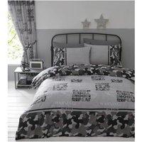 Bedmaker - Portfolio Camouflage Duvet Cover Set Grey King Size Bed Quilt