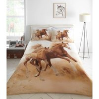Galloping Horses Quilt Duvet Cover Bed Set, polyester, Multi, king - Portfolio