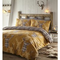 Portfolio Home Tartan Stag Single Duvet Cover Yellow Bedding Bed Set Reversible