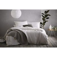Bedmaker - Portfolio Prestige Aspect White Super King Size Duvet Cover Set 100% Cotton Linen Blend Bedding