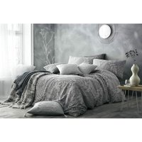Bedmaker - Portfolio Prestige Palazzo Grey King Size Duvet Cover Set Cotton Linen Bedding
