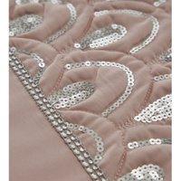 Ritz Sequined Diamante Embellished Pink Double Duvet Cover Set Bedding Bed Set - Portfolio