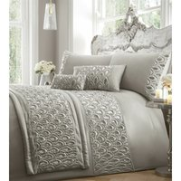 Ritz Sequined Diamante Embellished Silver Double Duvet Cover Set Bedding Bed Set - Portfolio
