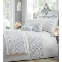 Ritz Sequined Diamante Embellished White Double Duvet Cover Set Bedding Bed Set - Portfolio