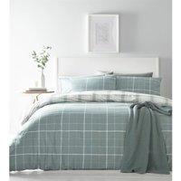 Portfolio Skye Check Duck Egg Super King Size Duvet Cover Set Quilt Bedding Bed Set
