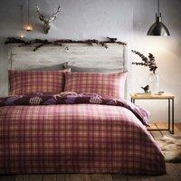 Portfolio Tartan Stag Plum Super King Size Duvet Cover Set Reversible Bedding Set Quilt - BEDMAKER