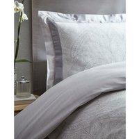 Portfolio Tatton Double Duvet Cover Set Grey Pintuck Bedding Bed Set - BEDMAKER