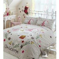 Portfolio Wishing For Unicorns Double Duvet Cover Set Grey Bedding Bed Set Linen - BEDMAKER