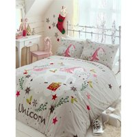 Portfolio Wishing For Unicorns Single Duvet Cover Set Grey Bedding Bed Set Linen - BEDMAKER