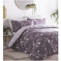 Portfolio Yasmina Plum Super King Size Duvet Cover Set Reversible Bedding Bed Set Linen - BEDMAKER