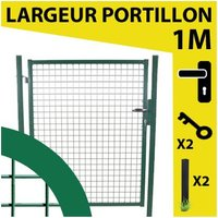 Portillon Jardin Grillagé Vert JARDIMALIN - 1,20 mètre - CLOTURE & JARDIN