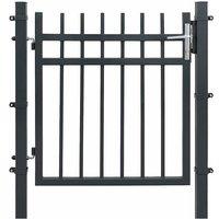 Portillon en fer galvanisé, Portail de clôture, Porte de jardin, robuste et durable, avec serrure, poignée et clé de qualité, 106 x 100 cm (L x H),
