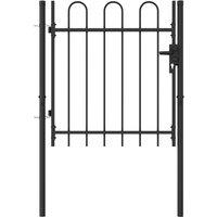 Asupermall - Portillon simple porte avec dessus arque Acier 1x1 m Noir
