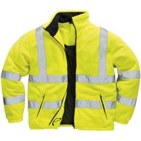 Mens Lined Hi Vis Fleece Jacket (Pack of 2) (L) (Yellow) - Portwest