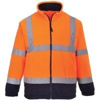 Mens Lined Hi Vis Fleece Jacket (Pack of 2) (XL) (Orange/ Navy) - Portwest