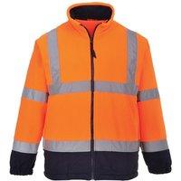 Mens Lined Hi Vis Fleece Jacket (Pack of 2) (2XL) (Orange/ Navy) - Portwest
