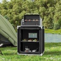 Potable Outdoor BBQ Kitchen Table Folding Camping Picnic Storage Shelf Cabinet, Black