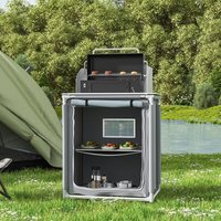 Potable Outdoor BBQ Kitchen Table Folding Camping Picnic Storage Shelf Cabinet, Grey