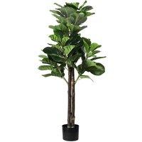 Potted Plants Outdoor Indoor Artificial Ficus pandurata Hance 4Ft Green