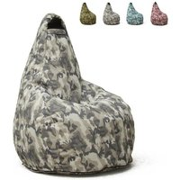 Pouf Fauteuil Pouf sac à Poire pour Extérieur Imperméable Mimétiques Made in Italy Summer Camouflage | Couleur: Urban - AHD AMAZING HOME DESIGN