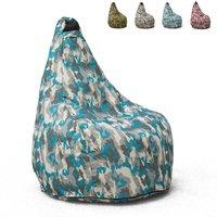 Pouf Fauteuil Pouf sac à Poire pour Extérieur Imperméable Mimétiques Made in Italy Summer Camouflage | Couleur: Navy - AHD AMAZING HOME DESIGN