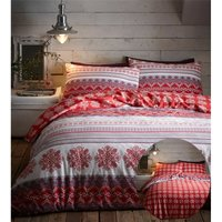 Bedmaker - Prague Flanelette Single Duvet Cover Bedding Bed Set Reversible Red