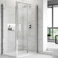Apex Sliding Shower Enclosure 1200mm x 760mm with Shower Tray - 8mm Glass - Hudson Reed
