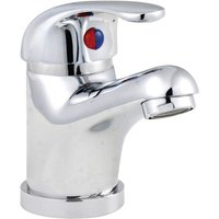 DTY305 Eon ǀ Modern Bathroom Round Single Lever Mono Basin Mixer Tap with Pop Up Waste, 94mm x 40mm, Chrome - Nuie