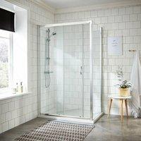 Nuie Ella Sliding Shower Enclosure 1000mm x 800mm Excluding Tray - 5mm Glass