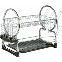 2 Tier Dish Drainer with Black Plastic Tray - Premier Housewares
