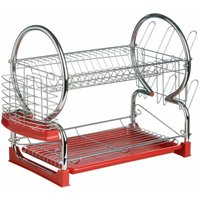 2 Tier Dish Drainer with Red Plastic Tray - Premier Housewares