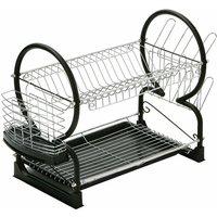 Black Enamel Coated Frame 2 Tier Dish Drainer - Premier Housewares