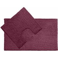 Premier Housewares Purple Cotton Bath Mat and Pedestal Set