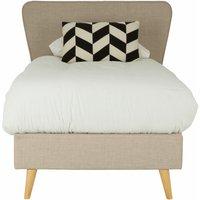 Scandinavian Beige Hopsack Fabric Single Bed - Premier Housewares