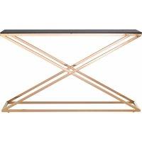Slim Table Gold Frame Long Console Table Metal Console Table Narrow Console Tables for Hallway Console Table Black Criss Cross - Premier Housewares