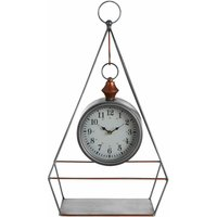 Small Antique Desk Clock With Pendulum / Wireframe Table Clocks Silver Finish With Copper Detail Clocks For Living Room Tables / Bedroom / Kitchen