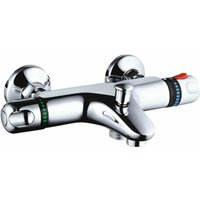 Nuie Round Thermostatic Bath Shower Mixer Tap Wall Mounted - Chrome